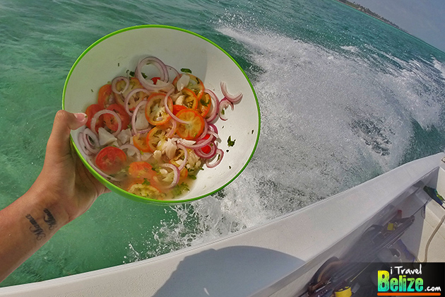 Conch ceviche prepared on the spot, can't get any more fresh than that