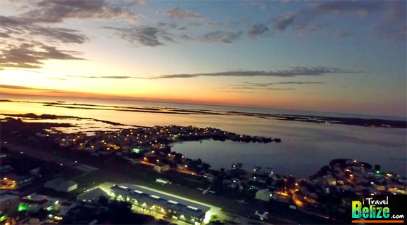 Spectacular Aerial Views of Nightfall in San Pedro, Ambergris Caye