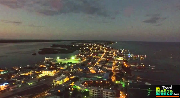 Spectacular Aerial Views of Nightfall in San Pedro, Ambergris Caye