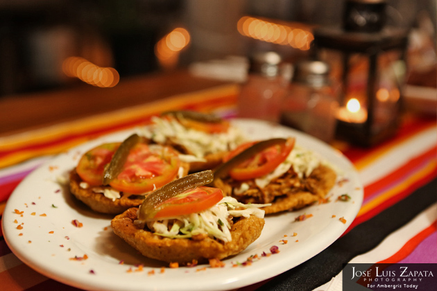 Salbutes on the appetizer menu - Belize Food
