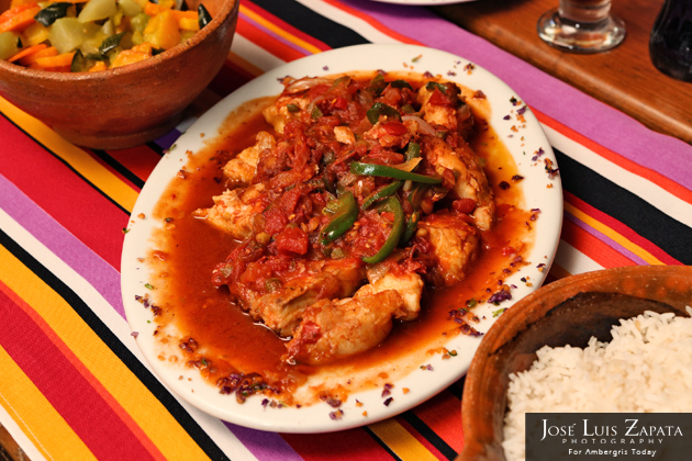 Fish Creole with rice and steamed vegetables at El Fogon Restaurant - Belize Food