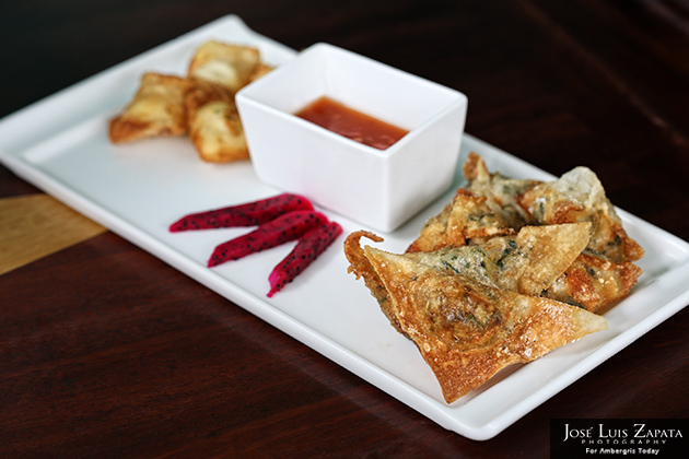 Wonton Medley includes crab & cream cheese, vegetable and shrimp & pork wontons complimented with signature guava dipping sauce