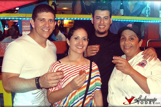 Ambergris Today Staff and Jose Luis Zapata with Chef Jennie Staines during Lobster Fest 2012