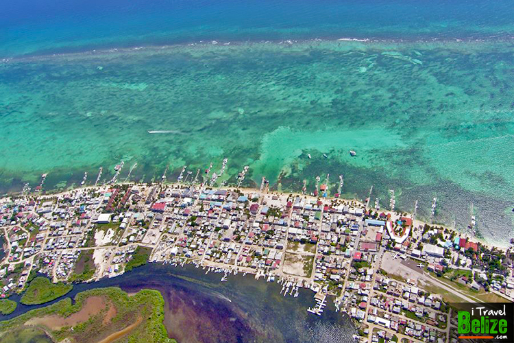 Aerial view of San Pedro, Belize