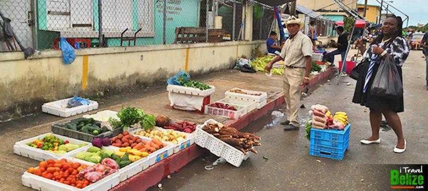 Vegitable and fruit shopping at Michael Finnegan Market in Belize City