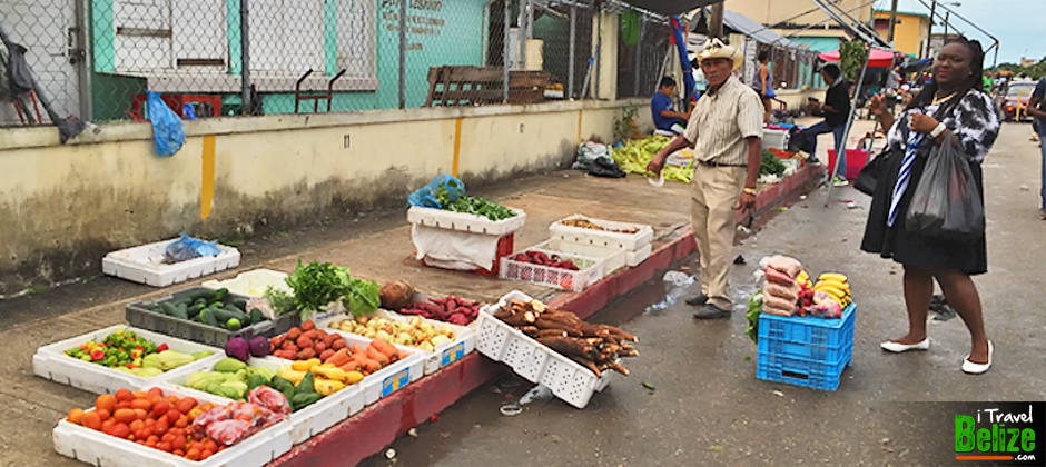 Vegitable and fruit shopping at Michael Finnegan Market in Belize City