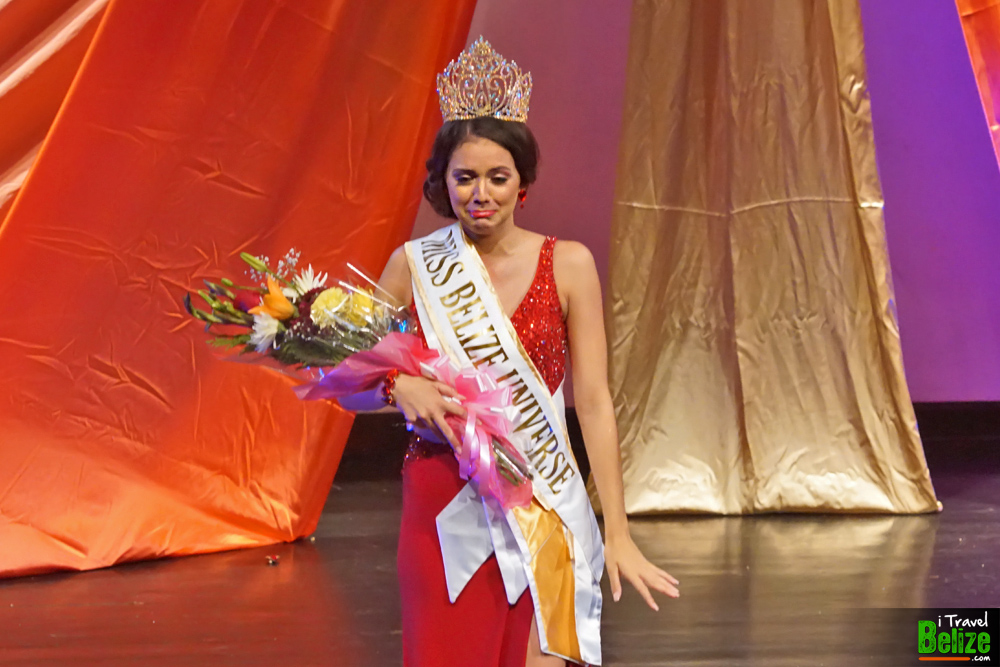 Rebecca Rath looking at dad after being crowned