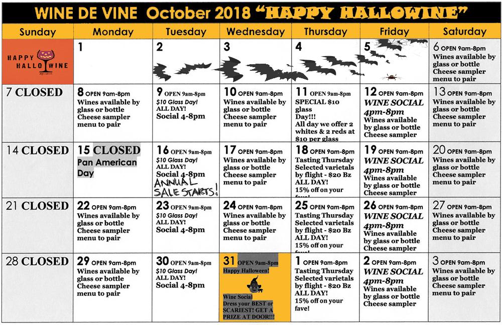 Wine de Vine October Halloween Calendar